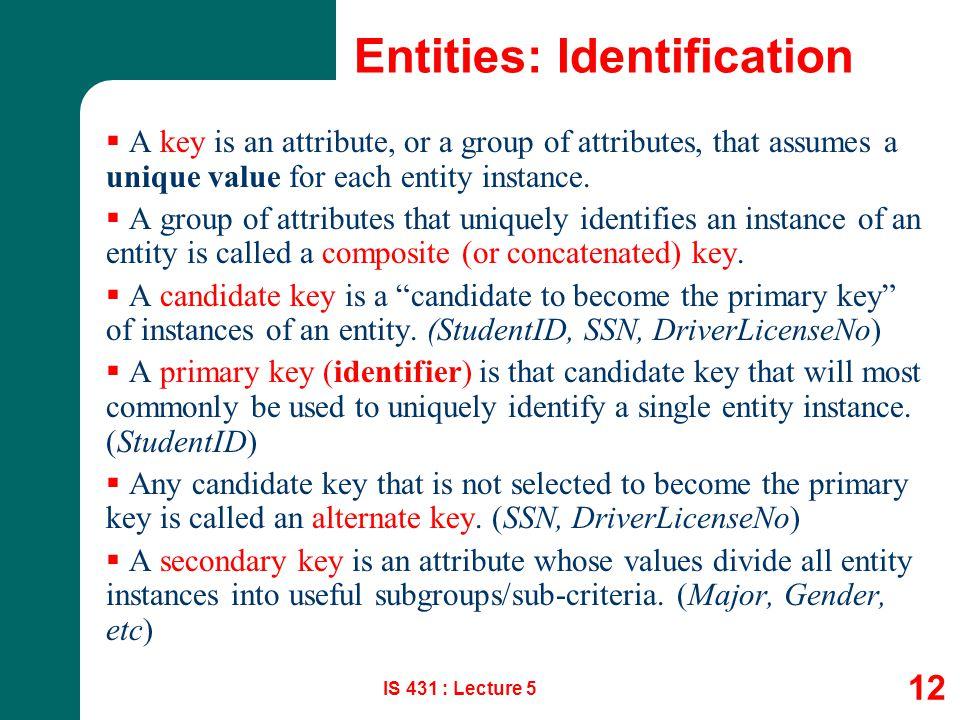 Entities: Identification