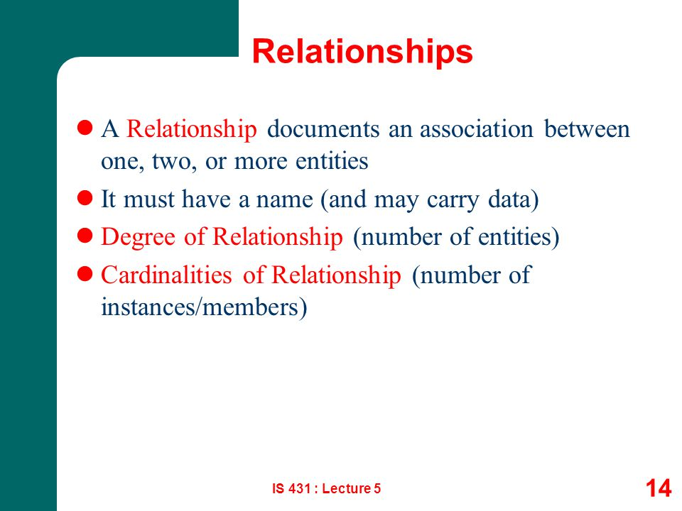 Relationships A Relationship documents an association between one, two, or more entities. It must have a name (and may carry data)
