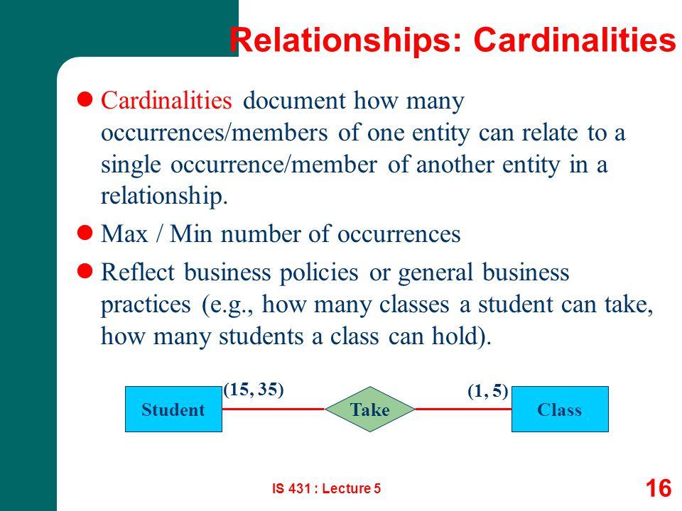Relationships: Cardinalities
