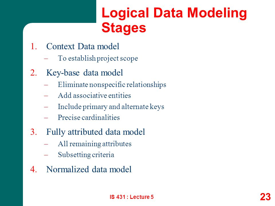 Logical Data Modeling Stages