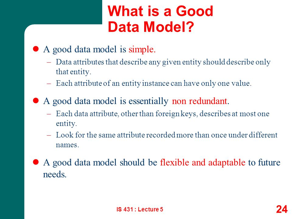 What is a Good Data Model