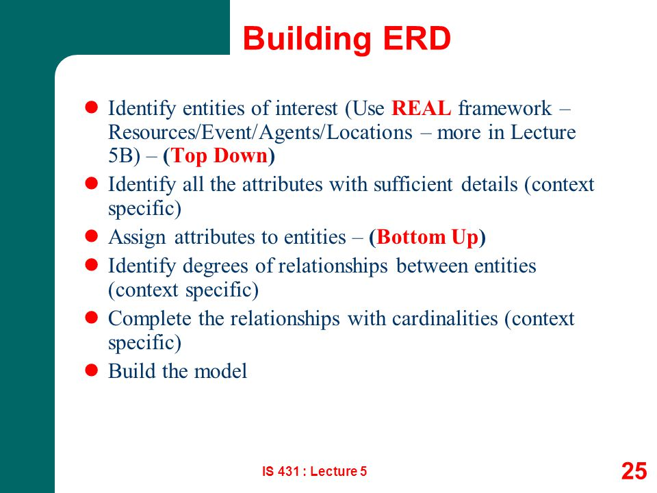 Building ERD Identify entities of interest (Use REAL framework – Resources/Event/Agents/Locations – more in Lecture 5B) – (Top Down)