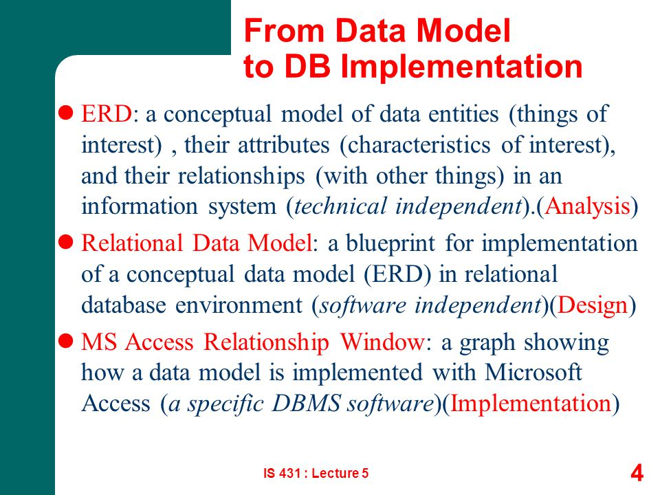 From Data Model to DB Implementation