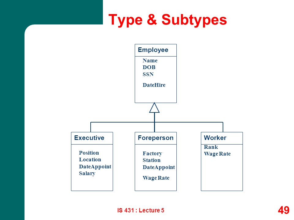 Type & Subtypes Employee Executive Foreperson Worker