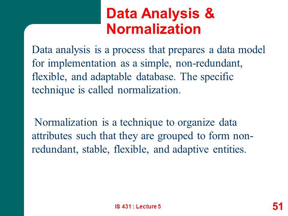 Data Analysis & Normalization