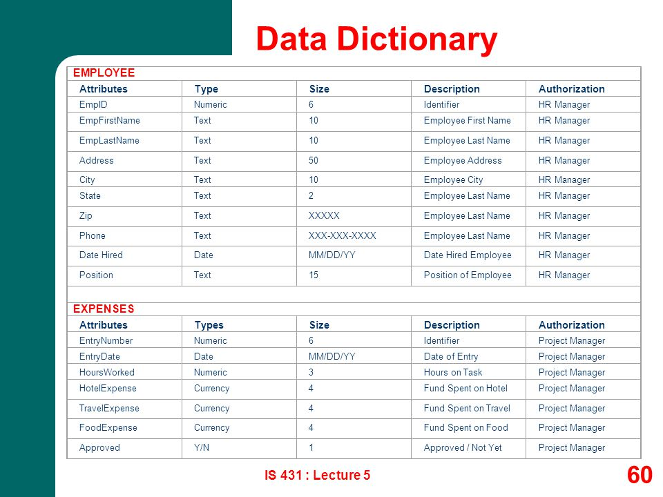 Data Dictionary IS 431 : Lecture 5 EMPLOYEE EXPENSES Attributes Type
