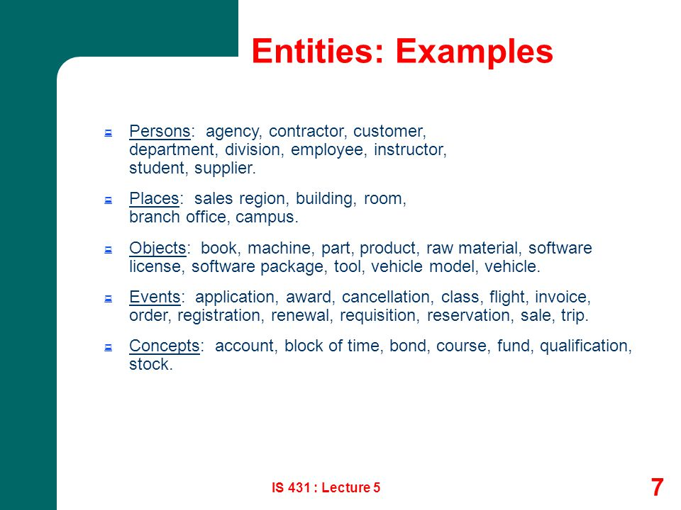 Entities: Examples Persons: agency, contractor, customer, department, division, employee, instructor, student, supplier.