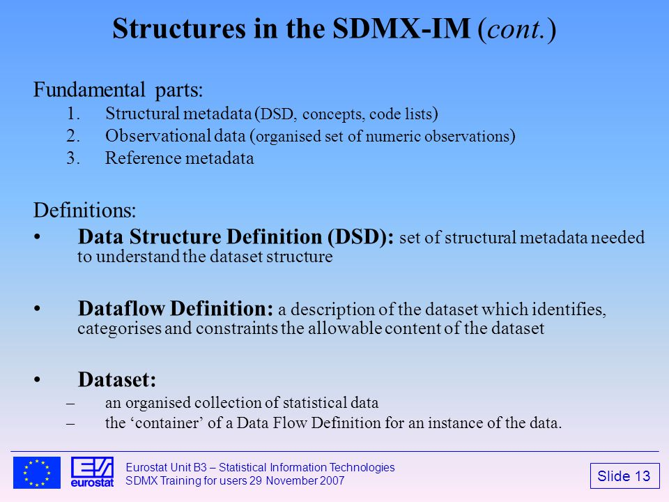 Structures in the SDMX-IM (cont.)