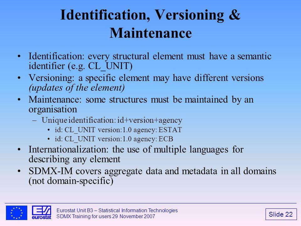 Identification, Versioning & Maintenance