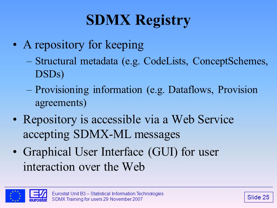 SDMX Registry A repository for keeping