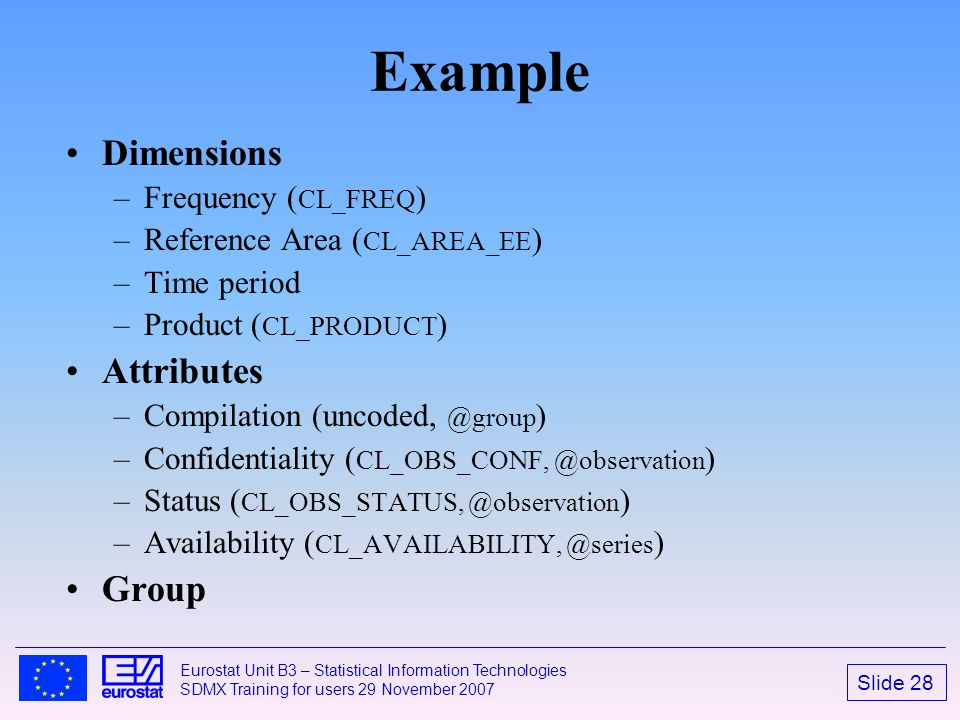 Example Dimensions Attributes Group Frequency (CL_FREQ)