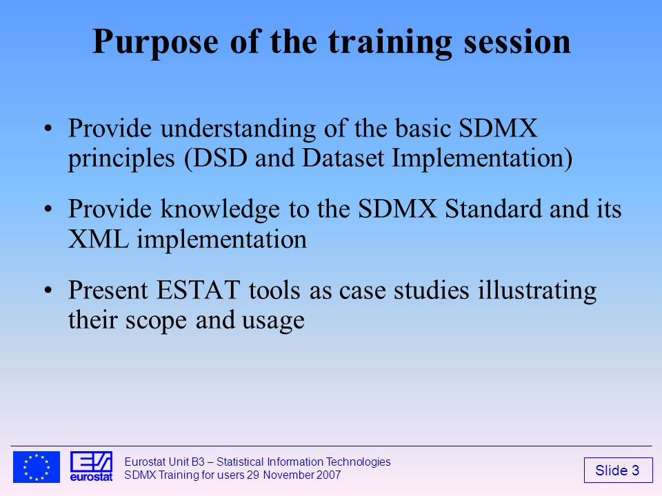 Purpose of the training session