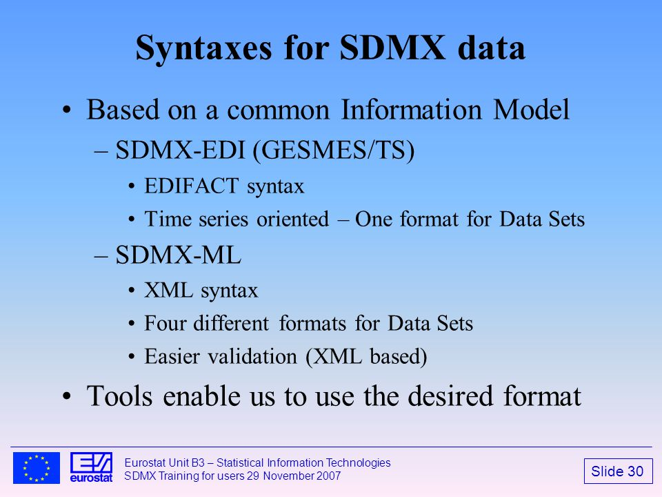 Syntaxes for SDMX data Based on a common Information Model