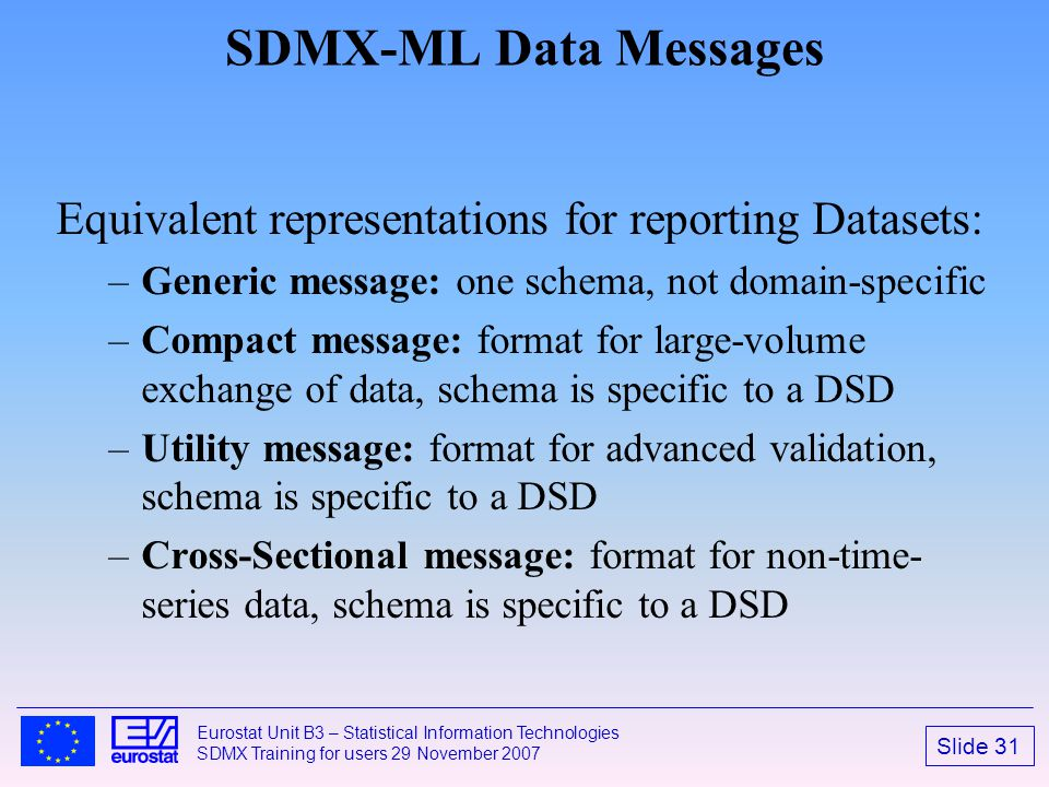 SDMX-ML Data Messages Equivalent representations for reporting Datasets: Generic message: one schema, not domain-specific.