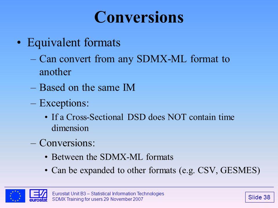 Conversions Equivalent formats