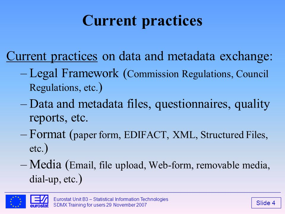 Current practices Current practices on data and metadata exchange: