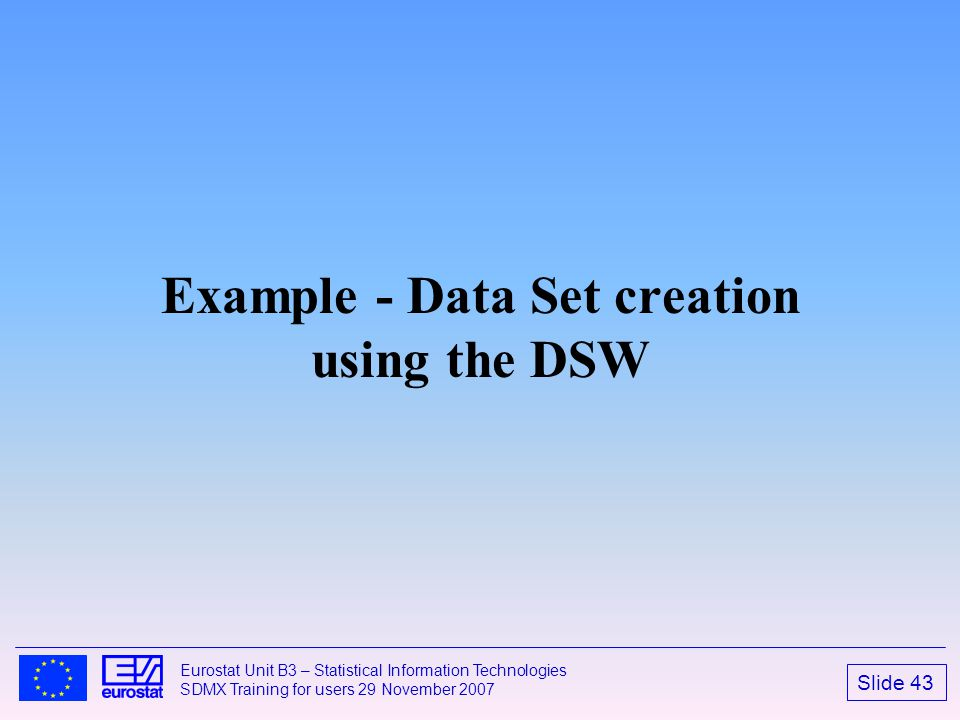 Example - Data Set creation using the DSW