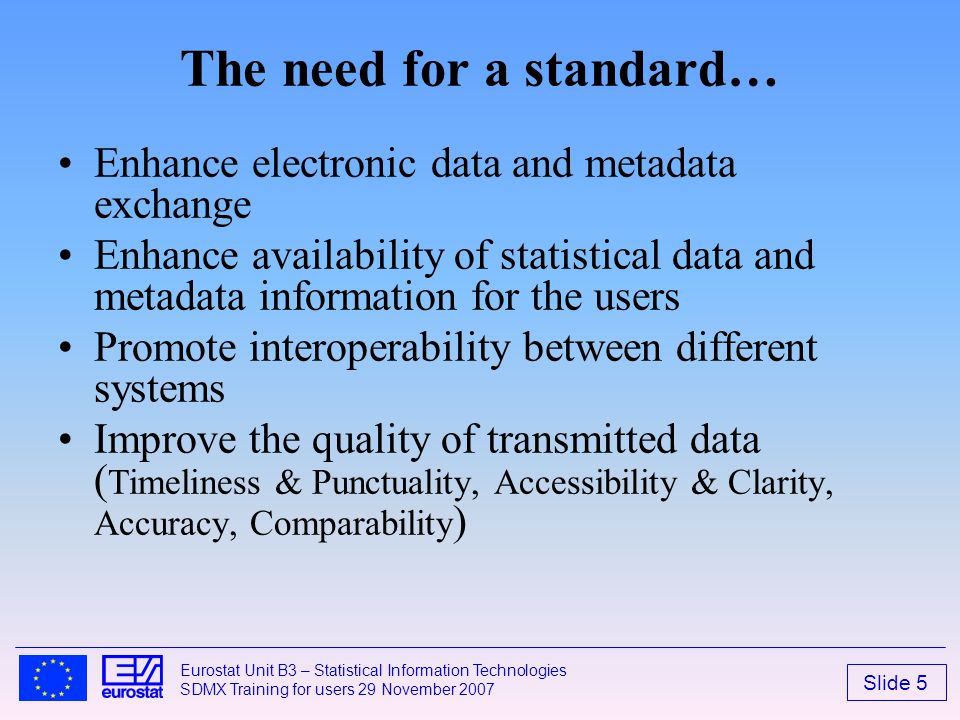 The need for a standard…