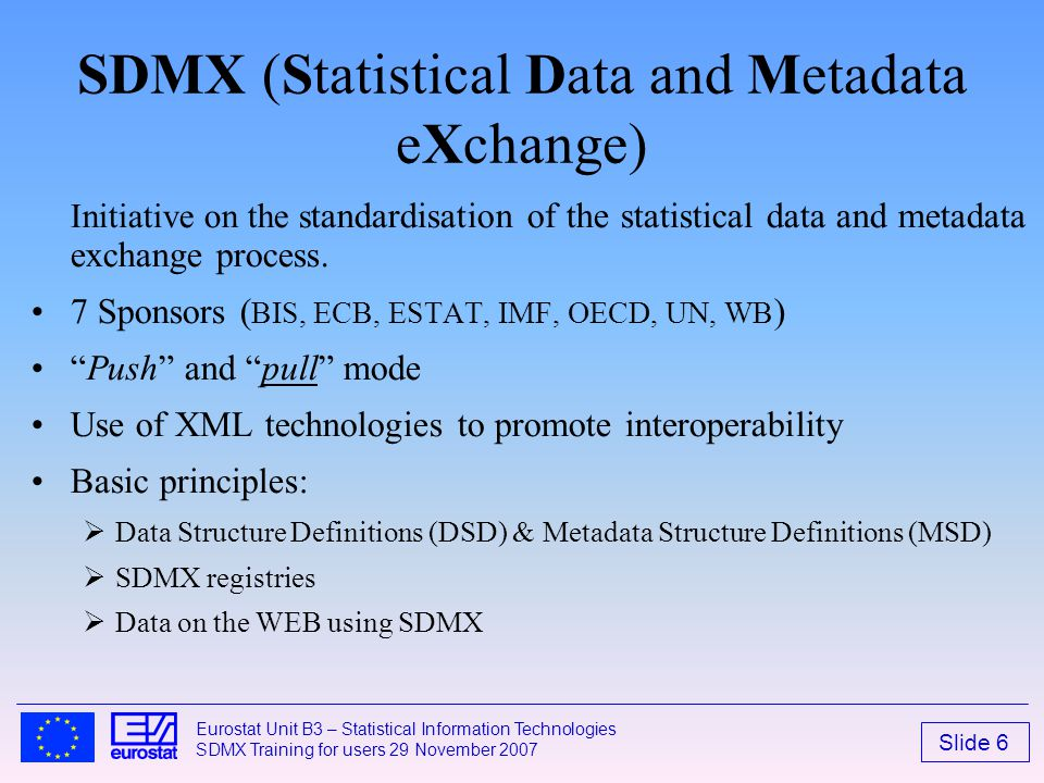 SDMX (Statistical Data and Metadata eXchange)