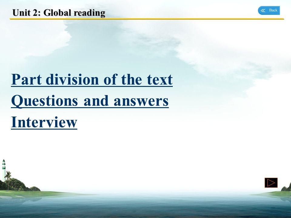 Part division of the text Questions and answers Interview