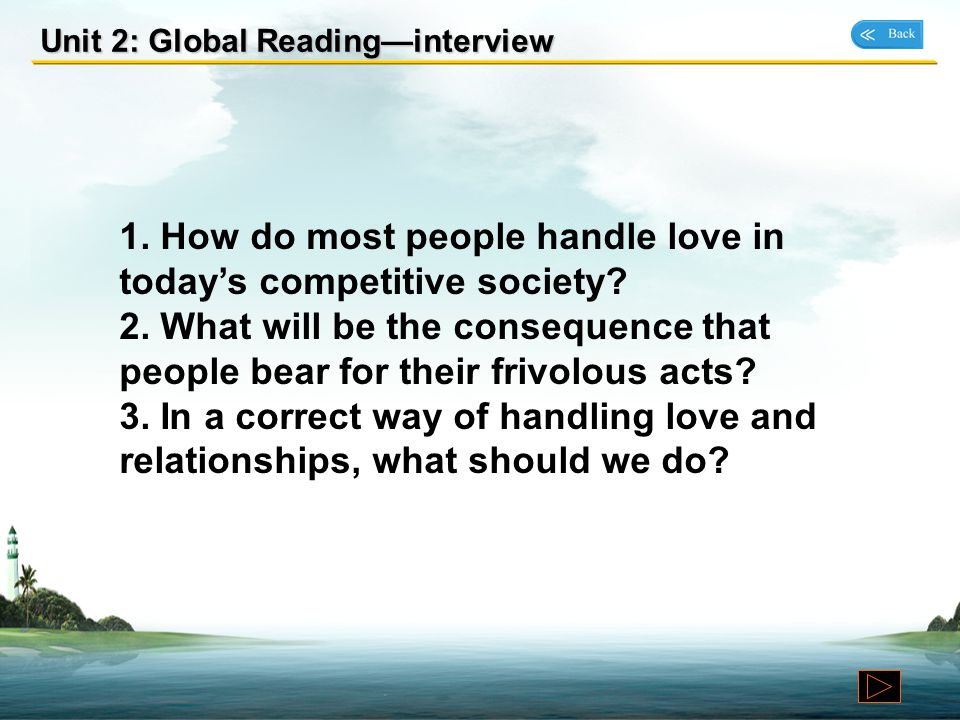 1. How do most people handle love in today's competitive society