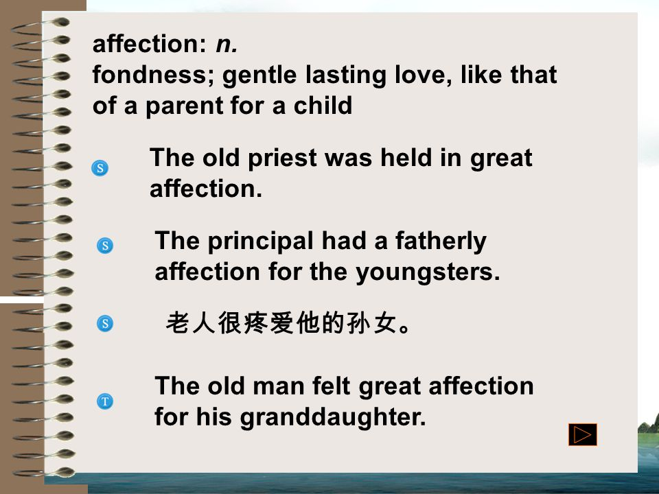 affection: n. fondness; gentle lasting love, like that of a parent for a child. The old priest was held in great affection.