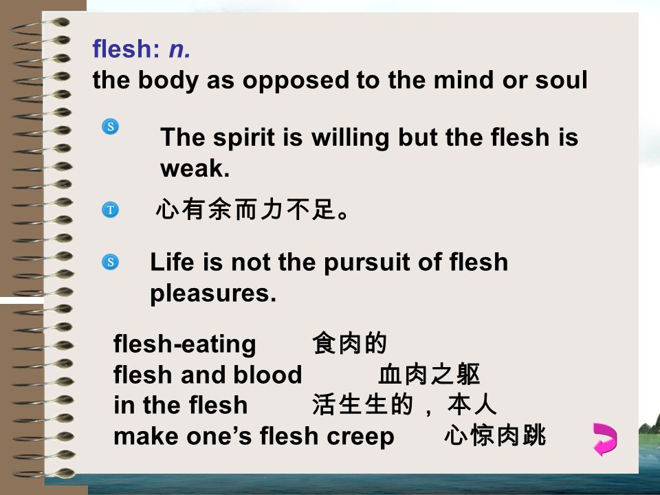 flesh: n. the body as opposed to the mind or soul. The spirit is willing but the flesh is weak. 心有余而力不足。