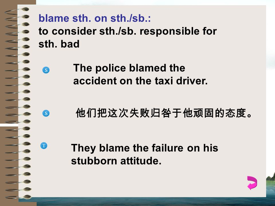 blame sth. on sth./sb.: to consider sth./sb. responsible for sth. bad. The police blamed the accident on the taxi driver.