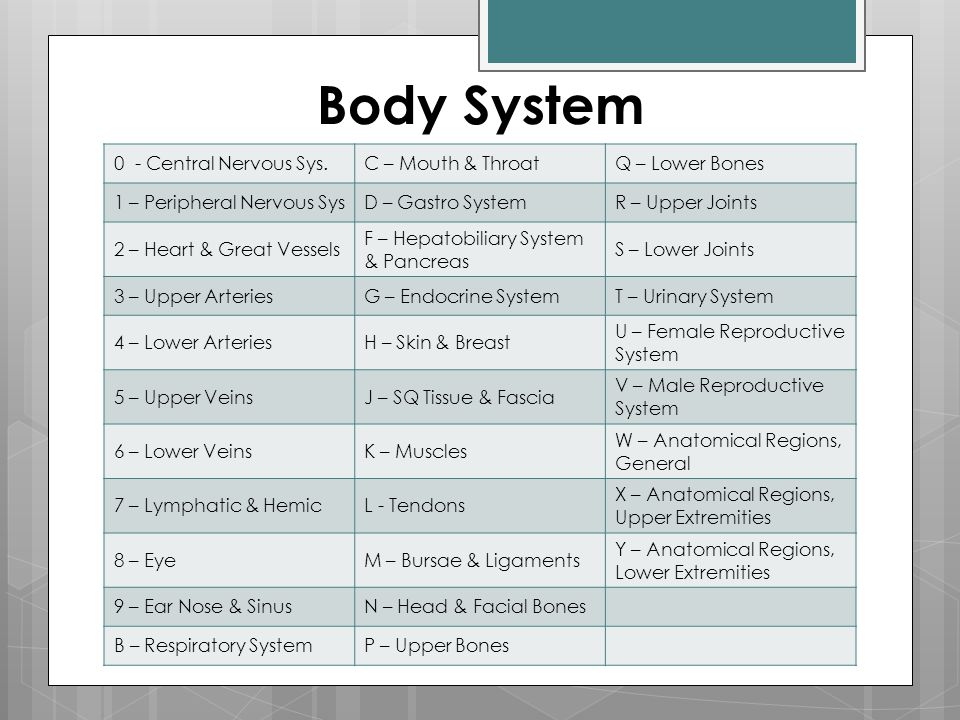 Body System 0 - Central Nervous Sys. C – Mouth & Throat