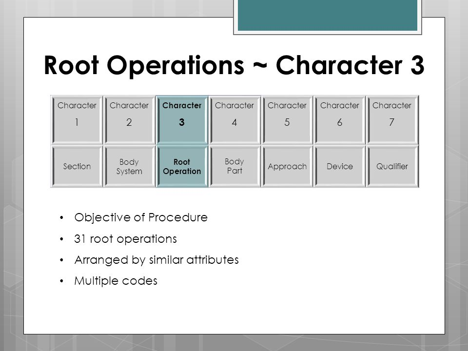Root Operations ~ Character 3