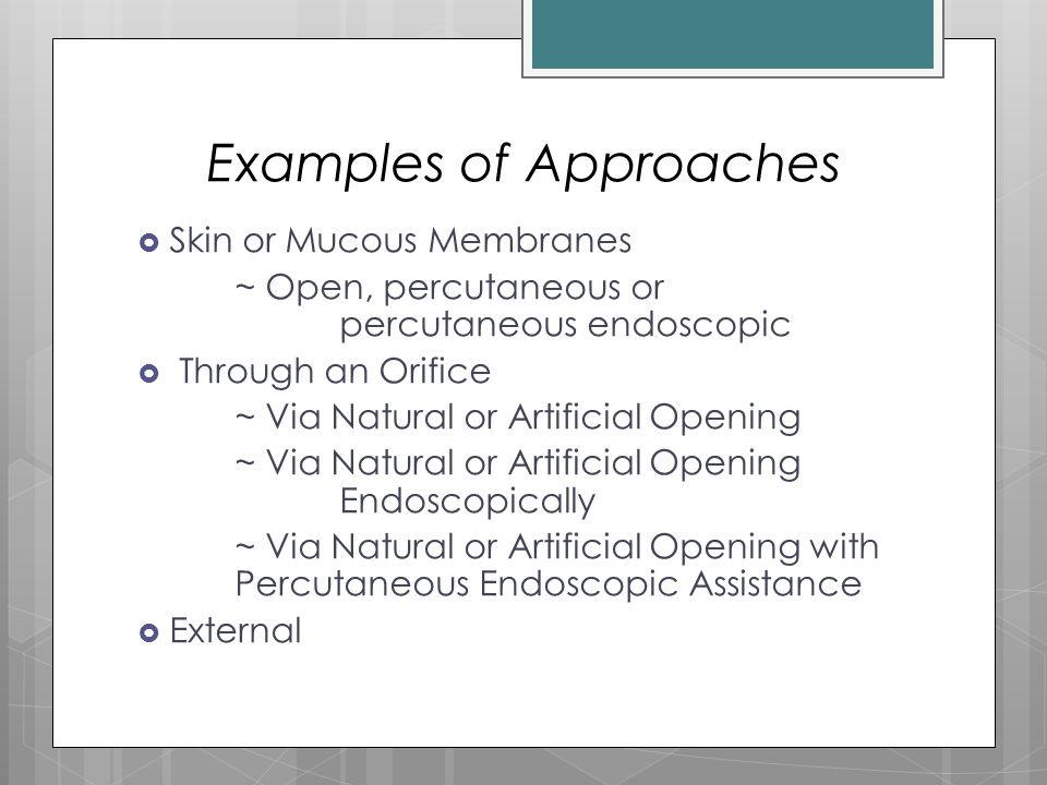 Examples of Approaches