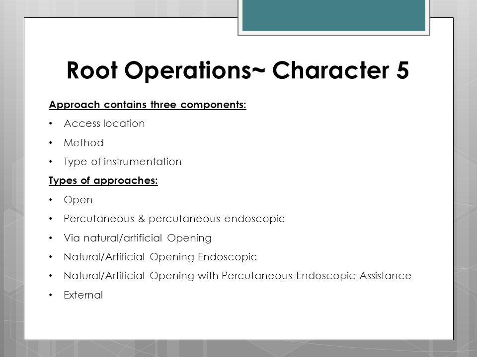 Root Operations~ Character 5