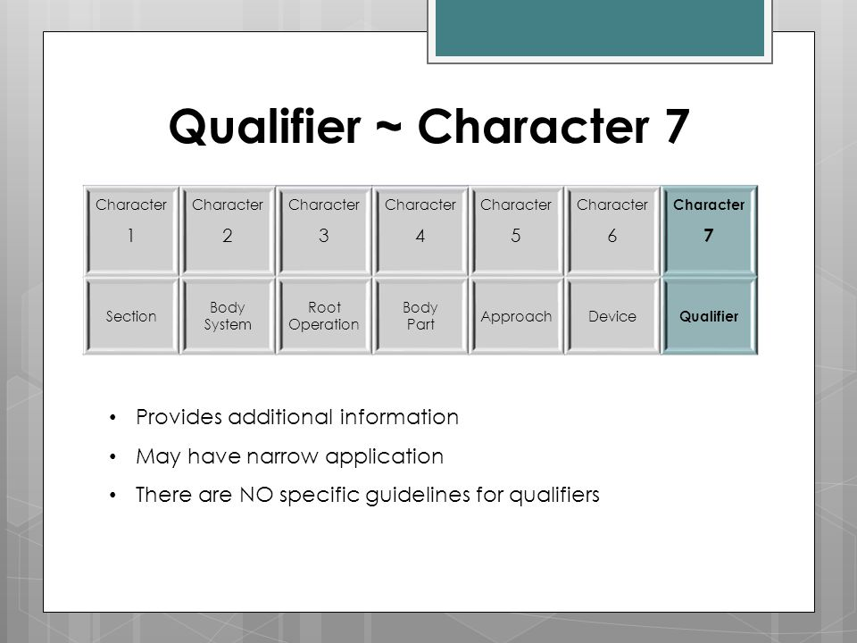 Qualifier ~ Character 7 Provides additional information
