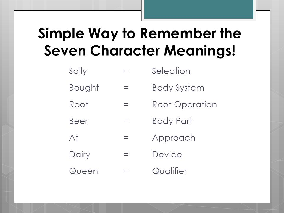 Simple Way to Remember the Seven Character Meanings!