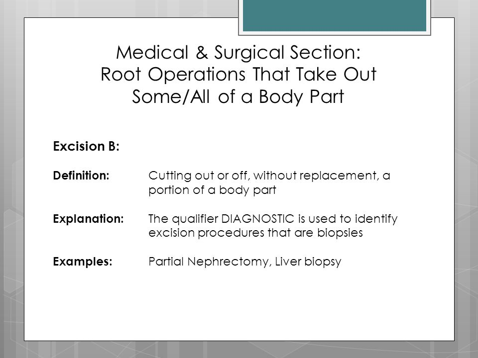 Medical & Surgical Section: Root Operations That Take Out Some/All of a Body Part
