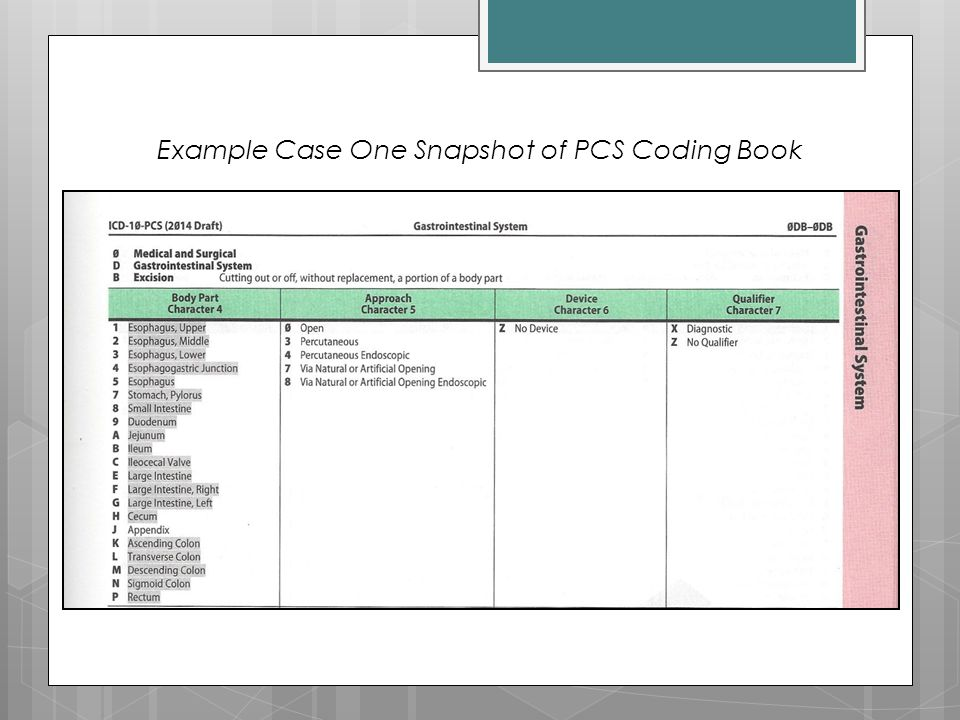 Example Case One Snapshot of PCS Coding Book