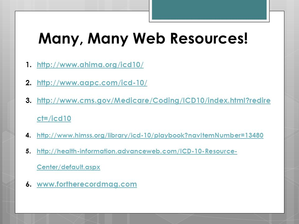 Many, Many Web Resources!
