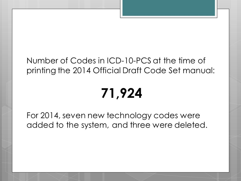 Number of Codes in ICD-10-PCS at the time of printing the 2014 Official Draft Code Set manual: