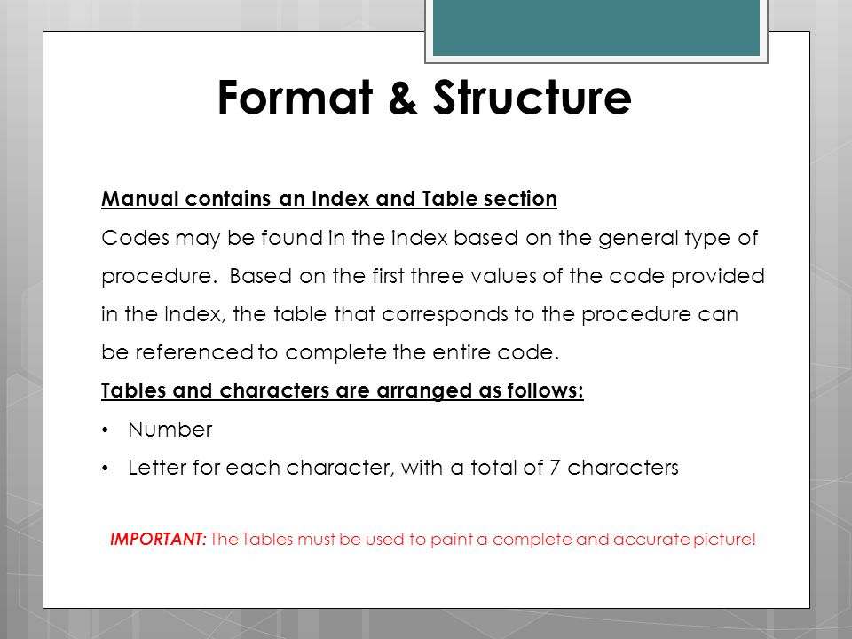 Format & Structure Manual contains an Index and Table section