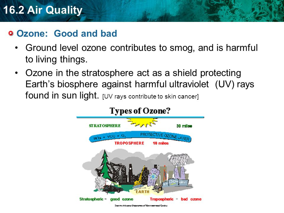 Ozone: Good and bad Ground level ozone contributes to smog, and is harmful to living things.