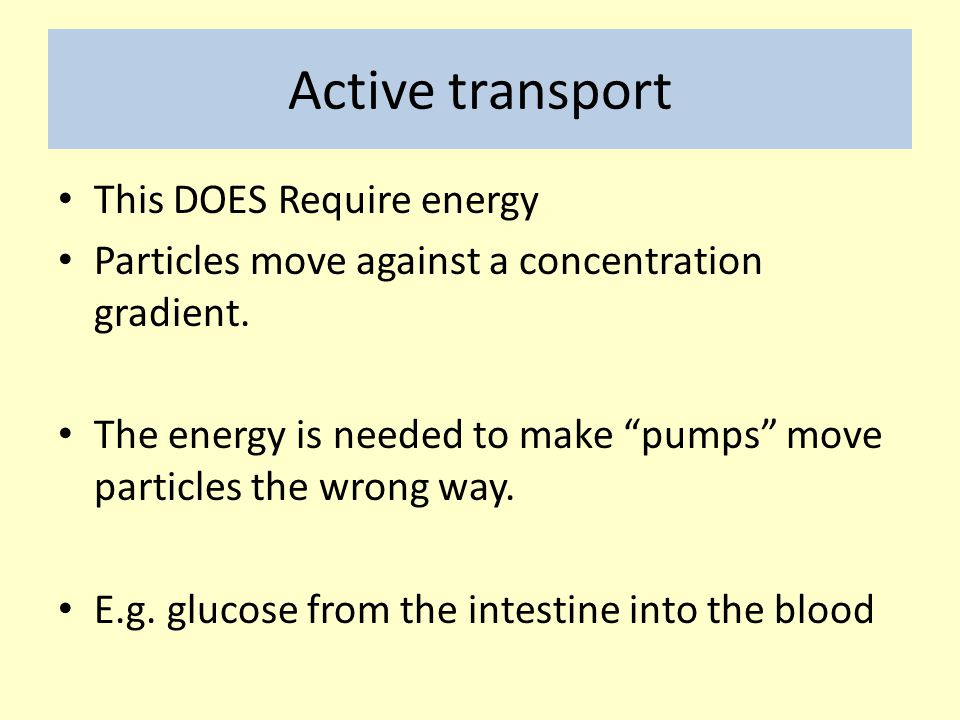 Active transport This DOES Require energy