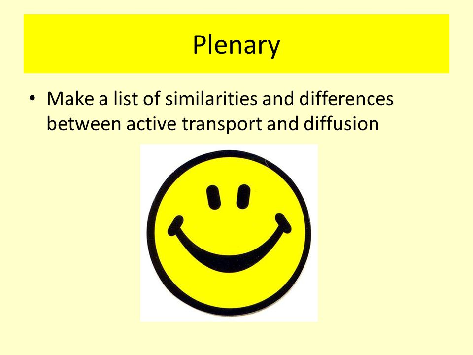 Plenary Make a list of similarities and differences between active transport and diffusion