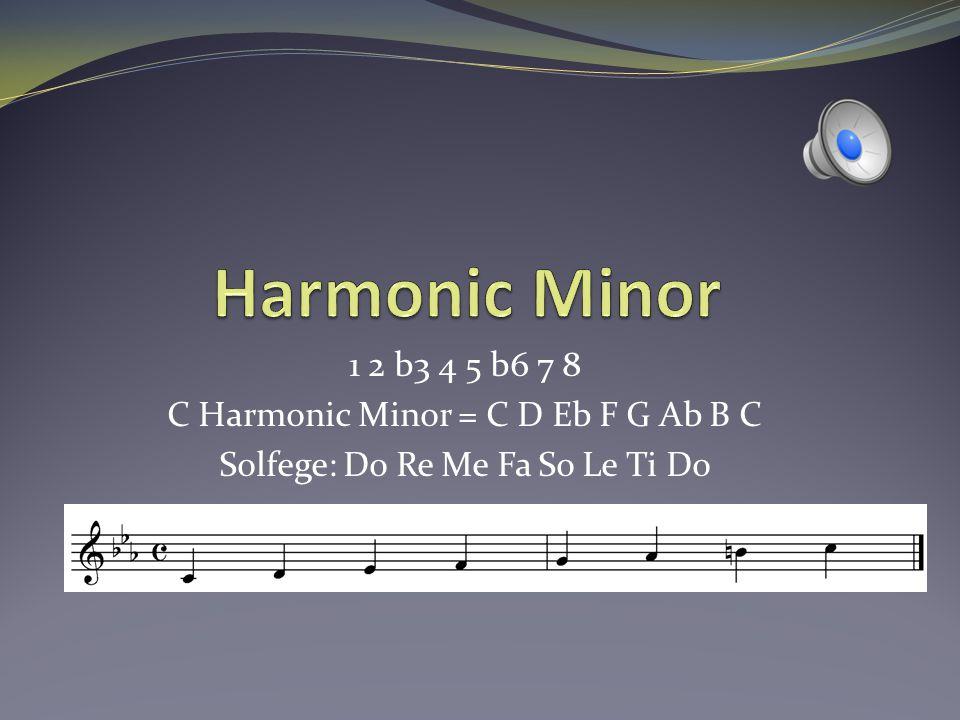 Harmonic Minor 1 2 b3 4 5 b6 7 8 C Harmonic Minor = C D Eb F G Ab B C