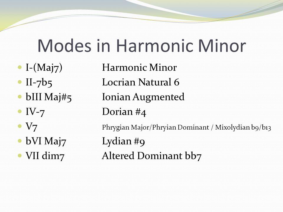 Modes in Harmonic Minor