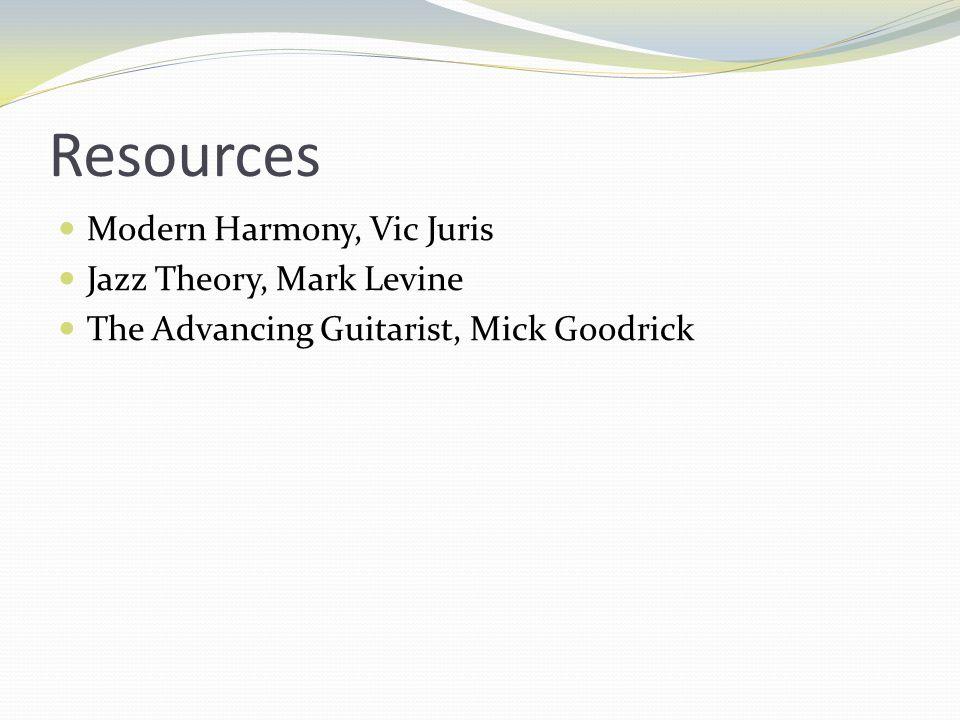 Resources Modern Harmony, Vic Juris Jazz Theory, Mark Levine