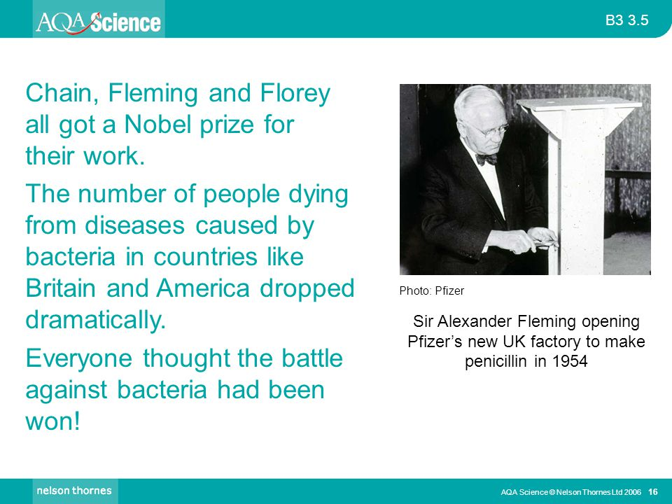 Chain, Fleming and Florey all got a Nobel prize for their work.