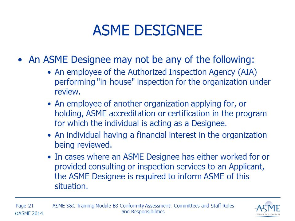 ASME DESIGNATED ORGANIZATION