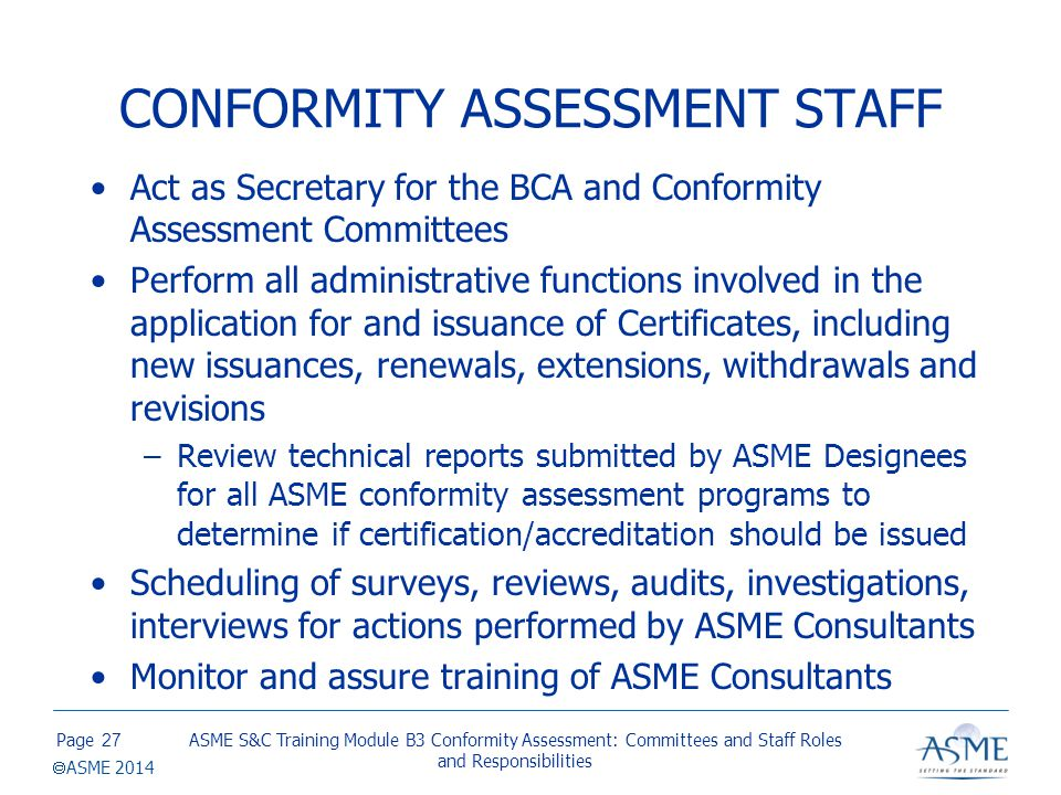 CONFORMITY ASSESSMENT STAFF