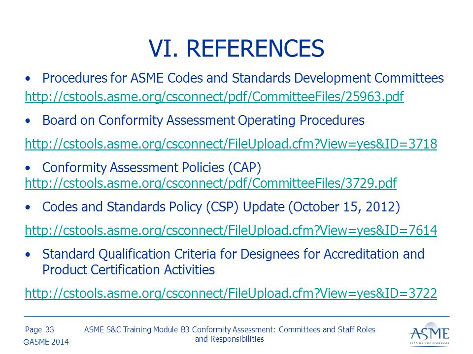VI. REFERENCES (cont.) Conduct of ASME Surveys, Reviews, Audits, Investigations and Interviews.