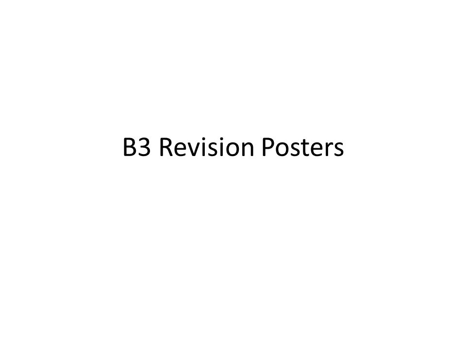B3 Revision Posters